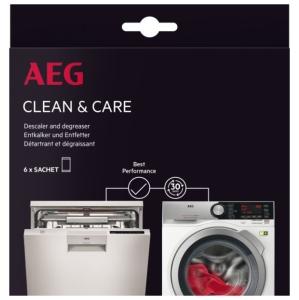 AEG A6WMDW06 Clean & Care Kit für Waschmaschinen und Geschirrspüler. Inhalt: 6 Beutel
