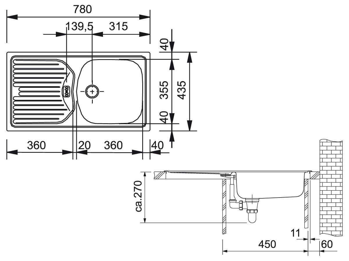 franke etn 614 nova inkl ablaufgarnitur g nstig kaufen. Black Bedroom Furniture Sets. Home Design Ideas