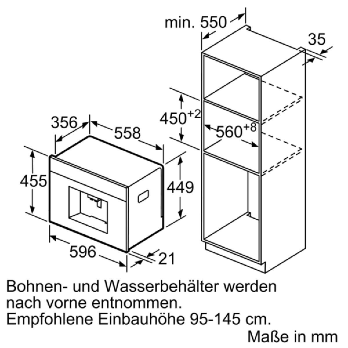 neff c15ks61n0 einbau kaffeevollautomat schwarz edelstahl. Black Bedroom Furniture Sets. Home Design Ideas