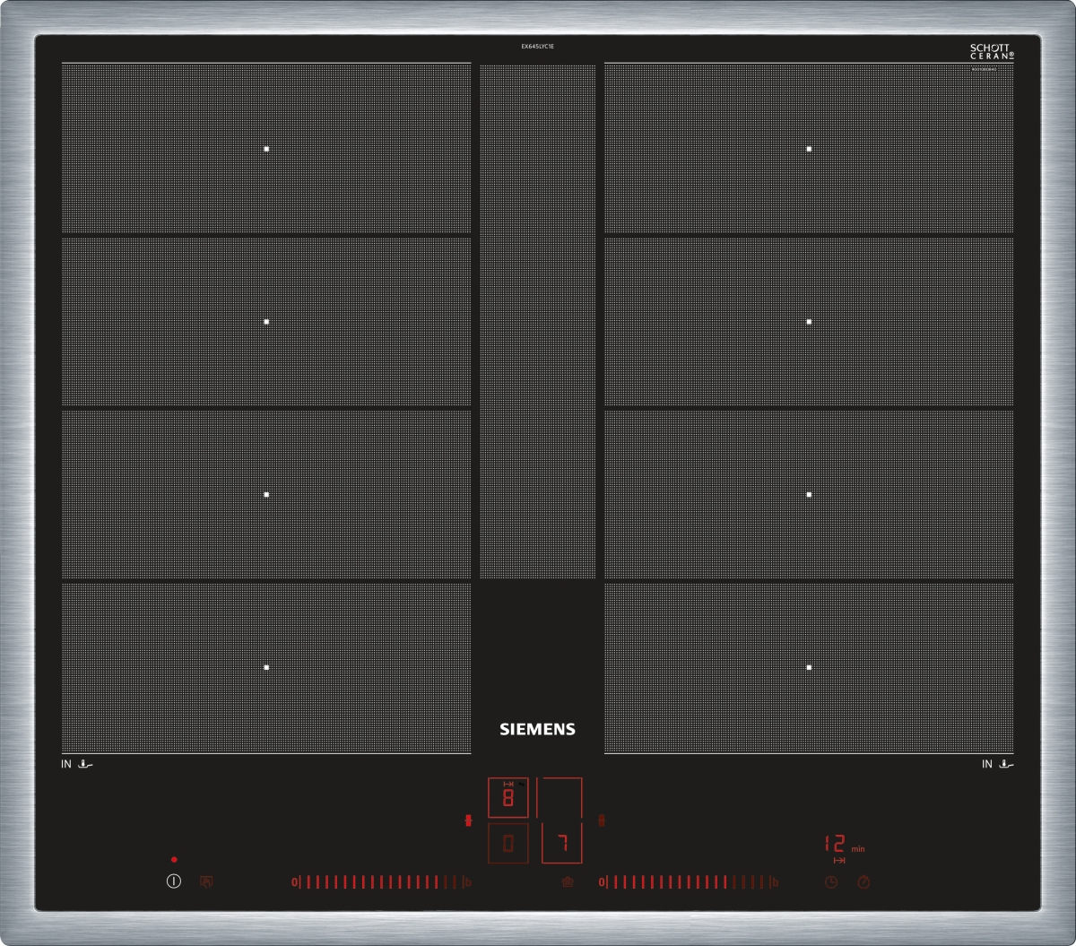 Siemens EX645LYC1E Edelstahlrahmen 60 cm Induktions-Kochstelle autark , Glaskeramik