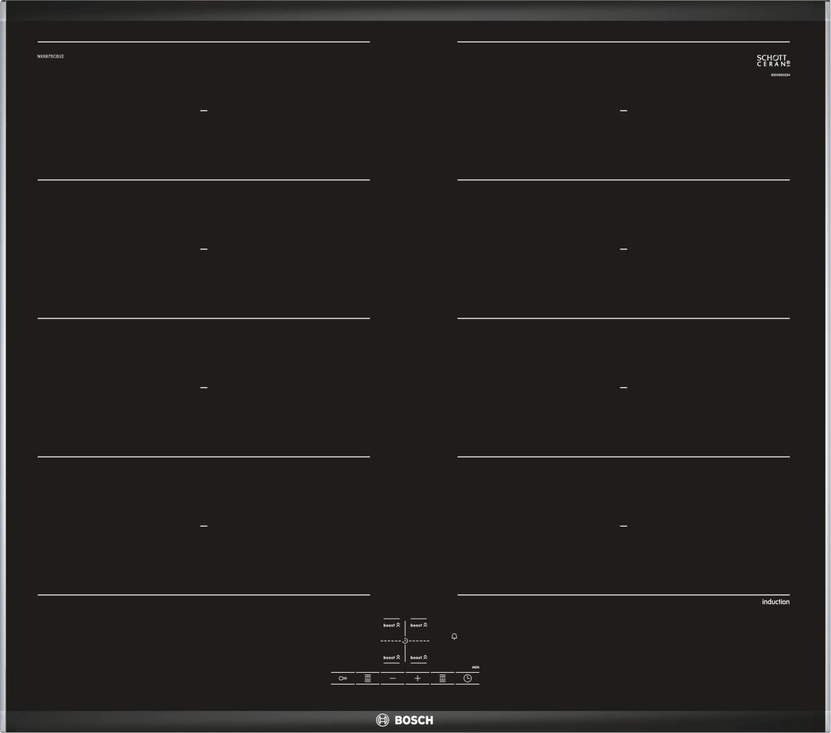 Bosch NXX675CB1E Edelstahl, Comfort-Profil 60 cm Kochfeld Glaskeramik herdgebunden
