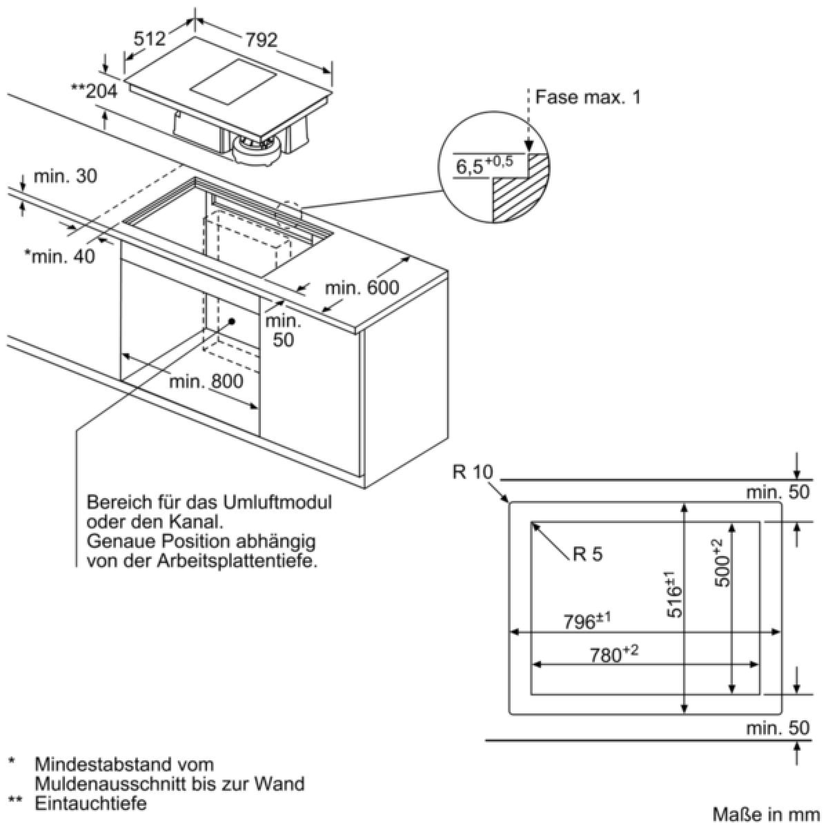 Siemens Ex801lx34e Induktions Kochfeld Mit Integriertem Dunstabzug
