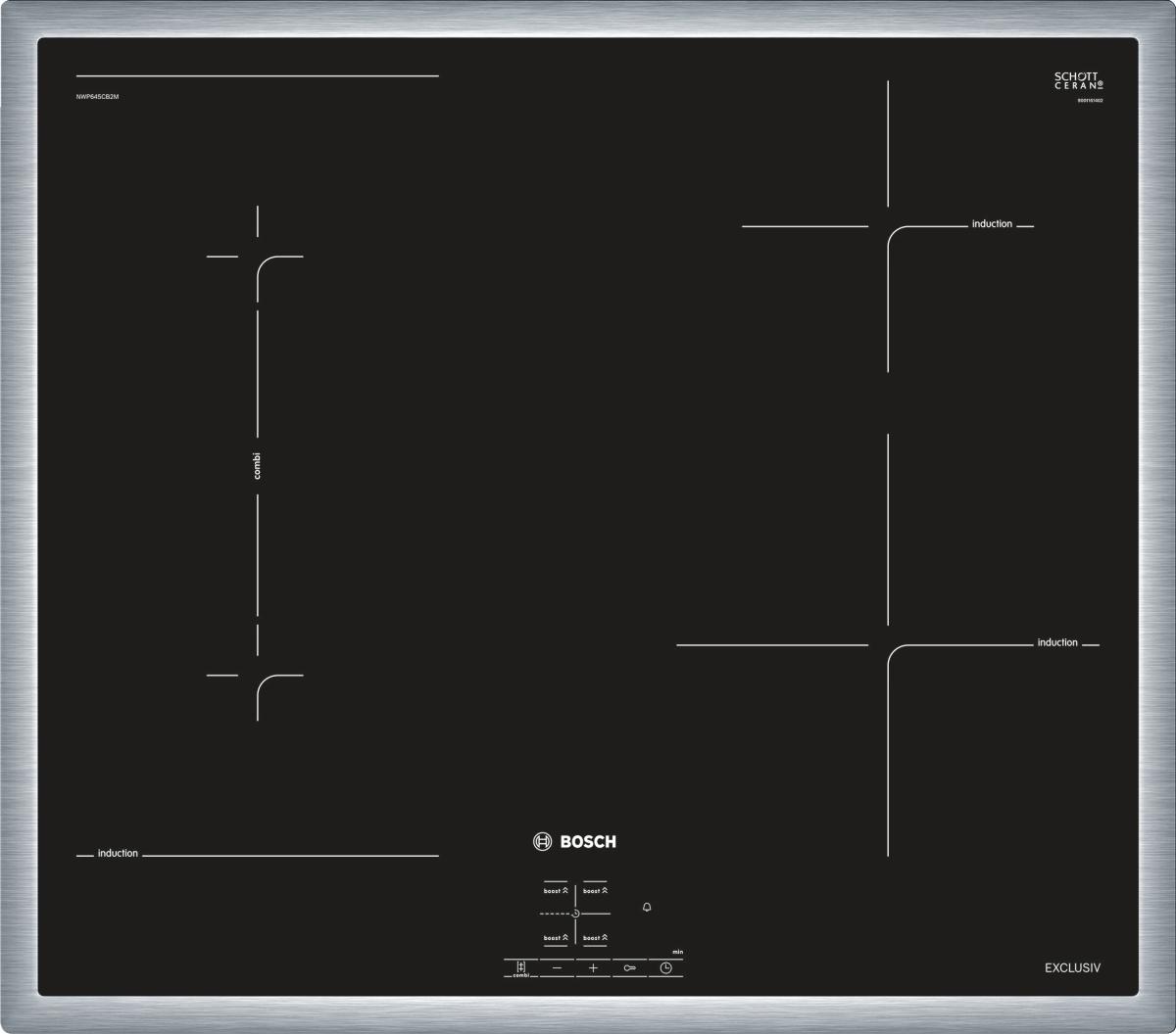 Bosch NWP645CB2M EXCLUSIV (MK)Edelstahl, umlaufender Rahmen 60 cm Induktions-Kochfeld Glaskeramik