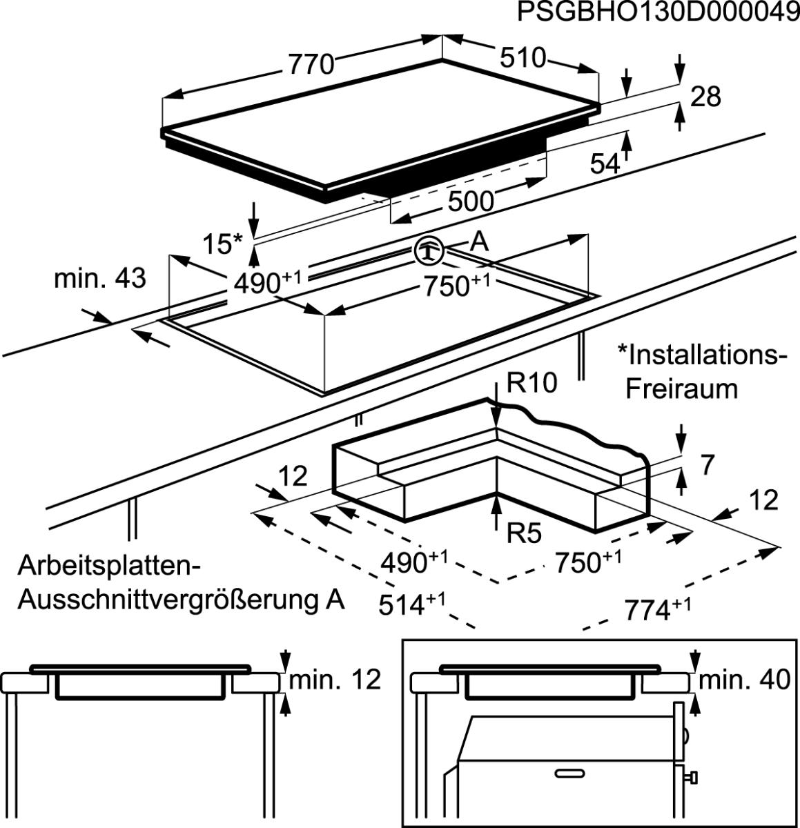 Aeg Hkp87420ib Induktionskochfeld 80cm Flachenbundiger Einbau