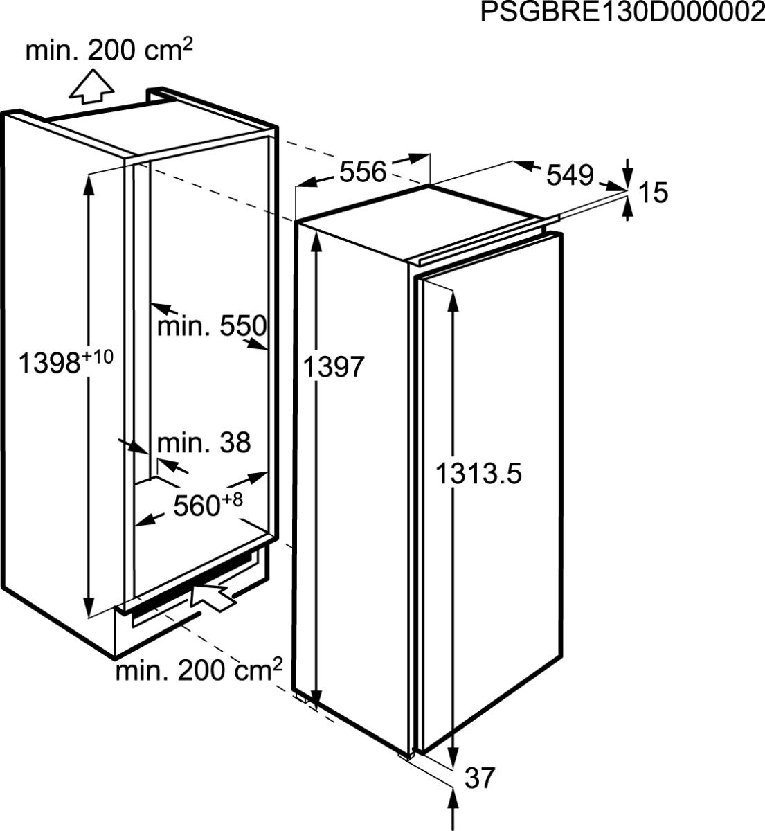 aeg sfe81436zc a einbauk hlschrank mit gefrierfach 140cm nischenh he festt r technik 0. Black Bedroom Furniture Sets. Home Design Ideas
