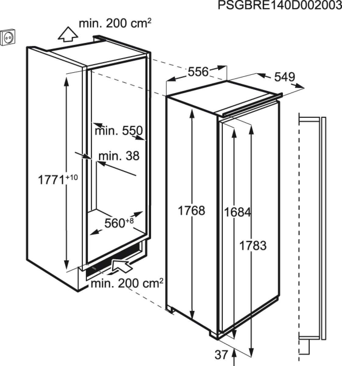 aeg ske81826zc einbauk hlschrank ohne gefrierfach 178cm. Black Bedroom Furniture Sets. Home Design Ideas