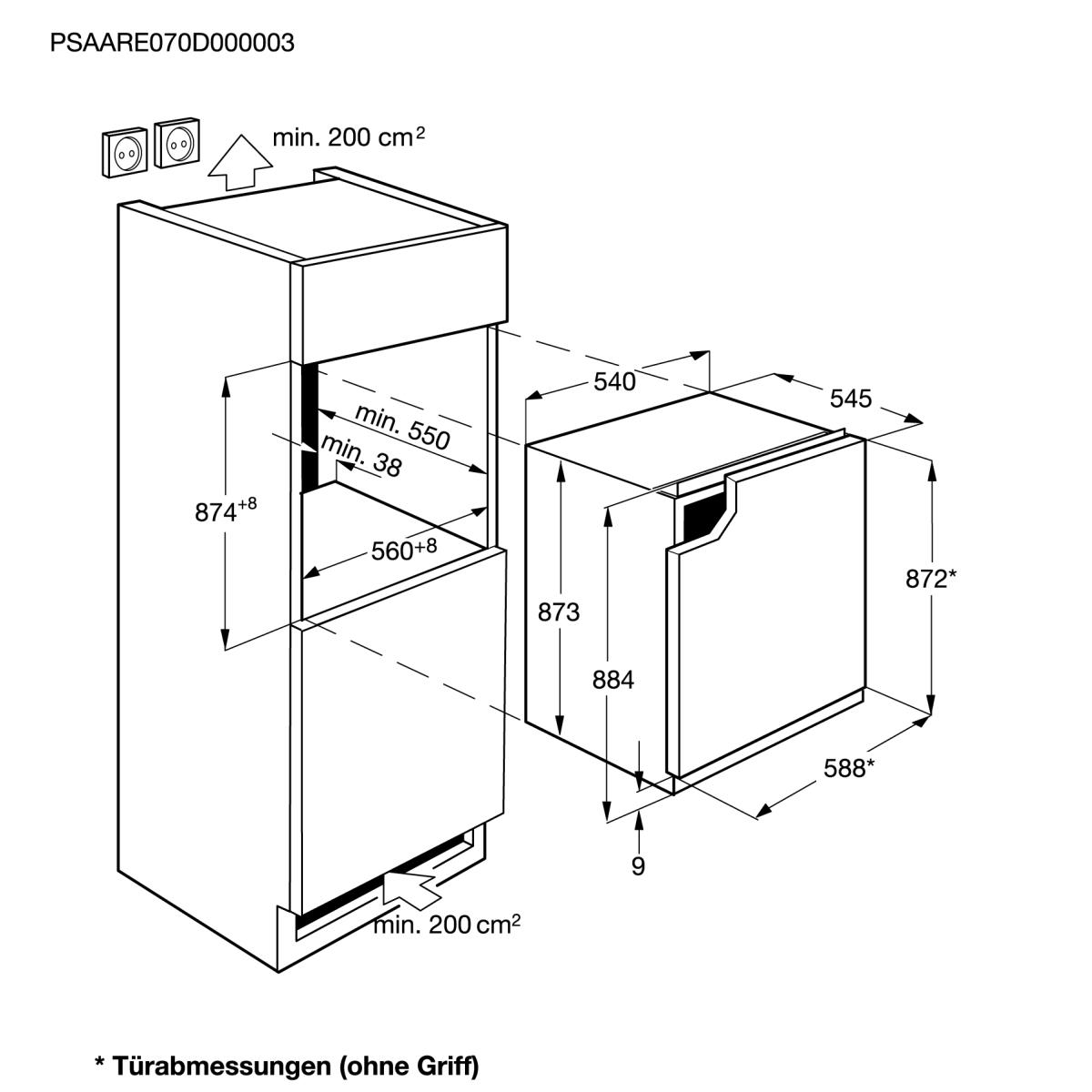 aeg sfb58831ae einbauk hlschrank mit gefrierfach 88cm. Black Bedroom Furniture Sets. Home Design Ideas