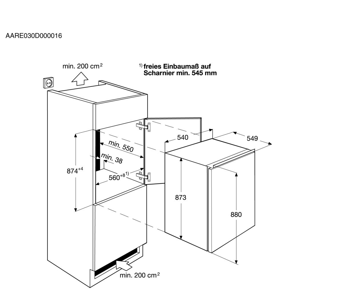 aeg sfb58831as einbauk hlschrank mit gefrierfach 88cm nischenh he schleppt r technik a. Black Bedroom Furniture Sets. Home Design Ideas