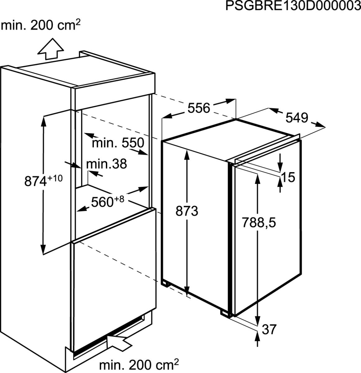 aeg sfs8883xac einbauk hlschrank mit gefrierfach 88cm. Black Bedroom Furniture Sets. Home Design Ideas
